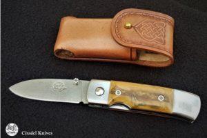 Couteau de poche Citadel Stavanger damas ivoire de mammouth
