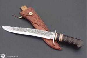 Knife Citadel Pioneer engraving damascus steel blade