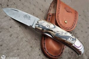 """Citadel """"Coubi Wild"""" Damascus Blade and Mammoth Ivory Scales- Folding Knife"""
