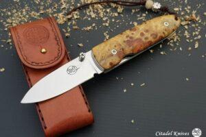 """Citadel """"Monterey Redland""""- Folding Knife With Leather Sheath"""