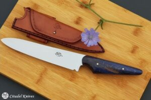 """Citadel """"Forest Bluebeech and Leather Sheath""""- Kitchen Knife."""