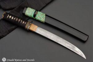 "Citadel ""Tanto Damascus Green Frog""- Japanese Knife."